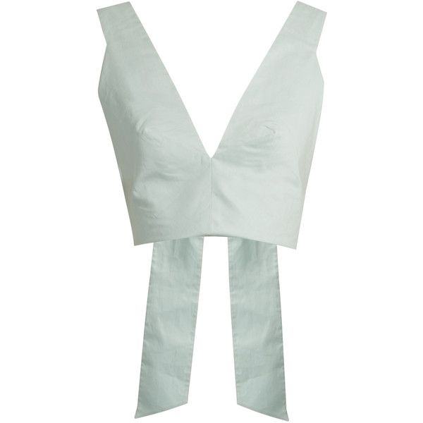 Kalita Bow Tie cotton-poplin cropped top (425 AUD) ❤ liked on Polyvore featuring tops, light blue, cropped tops, oversized crop top, ribbed crop top, oversized tops and green crop top