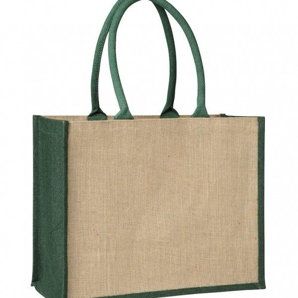 LAMINATED JUTE SUPERMARKET BAG WITH BLACK HANDLES AND GUSSETS – TB 0137 LJ (CONTRAST GREEN)  Price includes 1 color, 1 position print   2 Color imprint available for an additional charge