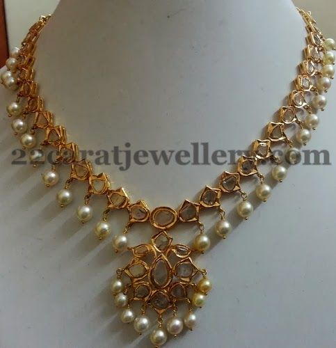Pachi Necklace and Simple Jhumkis | Jewellery Designs
