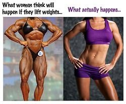 it's so true - women have such a warped sense of what it is to be muscular.  Lifting weights leans you out - it is a wonderful way to exercise! Give it a try!