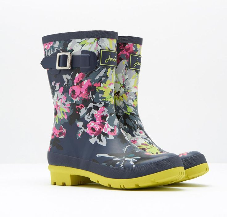 JOULES SALE Molly Welly French Navy Floral Rain Waterproof Short Rubber Boots 7 #Joules #Rainboots