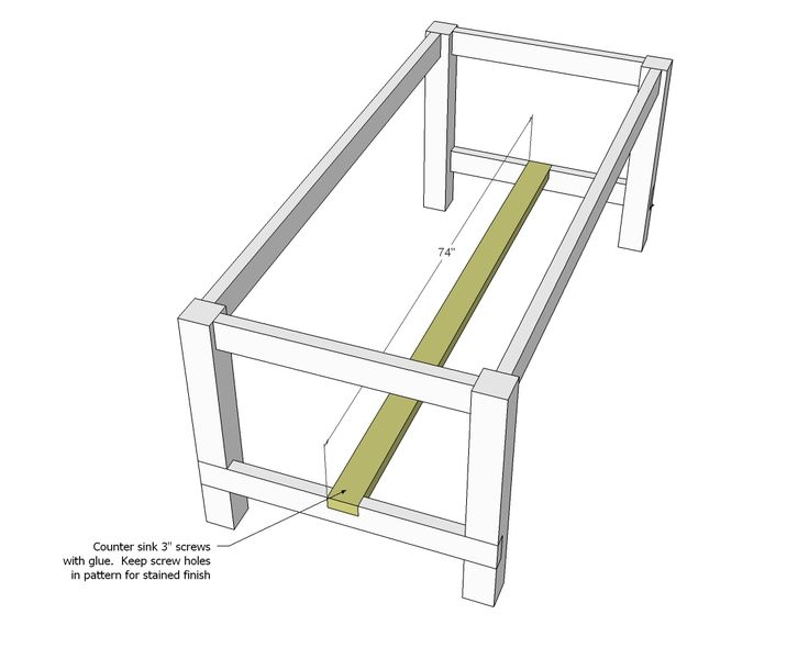 Alternate Farmhouse Table - Updated Pocket Hole Plans from ana-white.com