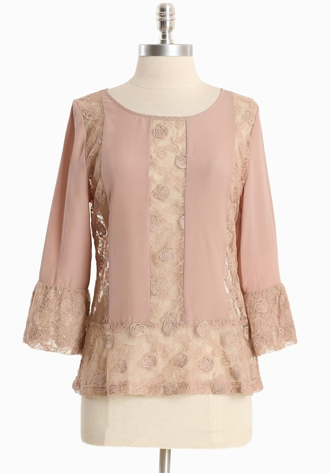 "romance-lace-panel-top.html"">shopruche.com. Get dressed up in romance with this dusty beige chiffon top with blush undertones. Rendered in a lightweight cotton blend, the top is finished with sheer floral lace panels, three-quarter length sleeves, and back button closures.  Self: 50% Cotton, 50% Nylon, Contrast: 100% Polyester, Imported, 22.5"" length from top of shoulder"