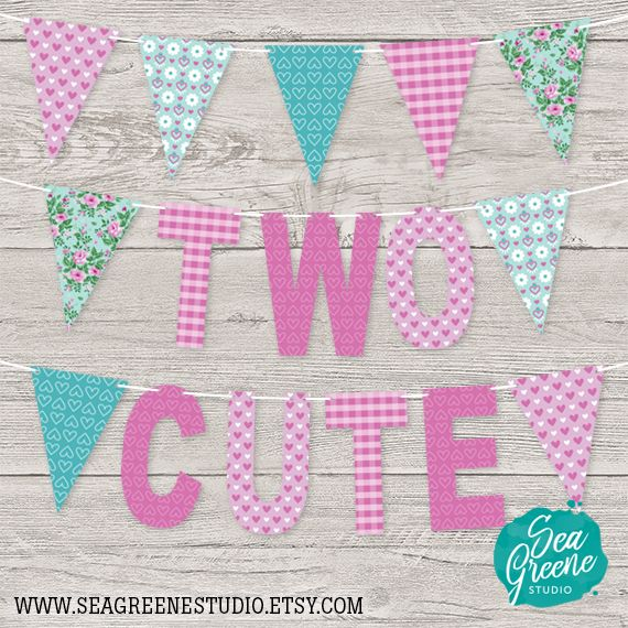 Two Cute Pennant Banner Two Years Old Second Birthday Banner Girl 2nd Birthday Printable Banner Photo Backdrop Twins Twin Girl Girl 2nd Birthday 2