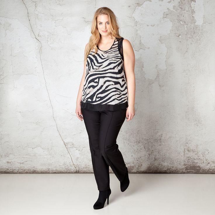 Deze prachtige top met trendy zebraprint aan de voorzijde is een perfecte aanwinst voor de feestdagen. U kunt hem met verschillende jasjes of vestjes ... Bekijk op http://www.grotematenwebshop.nl/product/top-van-x-two-voor-vrouwen-met-grote-maten-9/