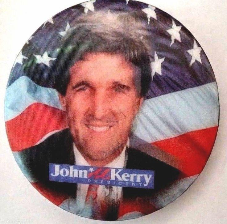 "JOHN KERRY - JOHN EDWARDS 2004 PRESIDENTIAL 3"" FLASHER CAMPAIGN BUTTON"
