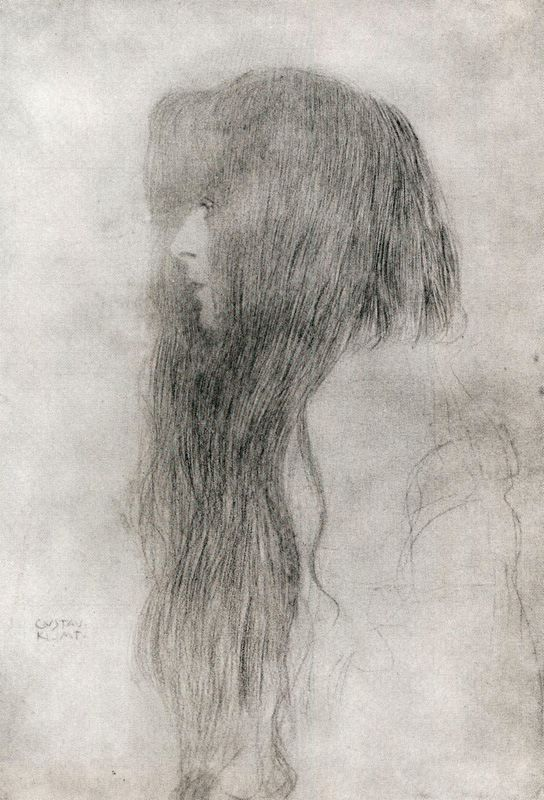 This kind of reminds me of Danielle Russo.  Woman in Profile. Gustav Klimt. 1898.