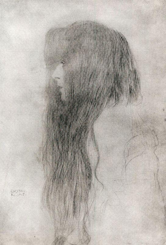 Gustav Klimt,Woman in Profile1898-99En Profile, Profile 1898 99, Artists Gustav Klimt, Art Modernos, Long Hair, Art Historicas, Gustav Klimt Drawing, Klimt Woman, Gustav Klimtwoman