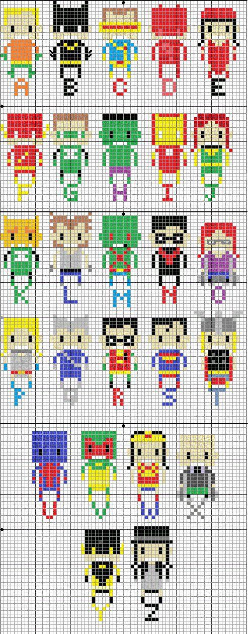 Geekie Crafts: Superhero Alphabet Cross Stitch