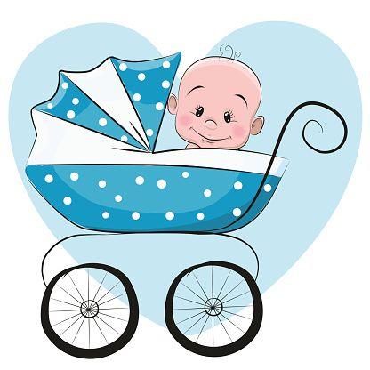 Bebê menino bonito dos desenhos - ilustração de arte em vetor