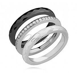 Pierścionki ceramiczne czarny, biały oraz srebrny pr.925 z białą cyrkonią Pierścionek ceramiczny waga srebra ~ do 5g szerokość pierścionków ceramicznych - 3mm szerokość pierścionka srebrnego - 2mm Pierścionek srebrny wykonany w technologii microsetting