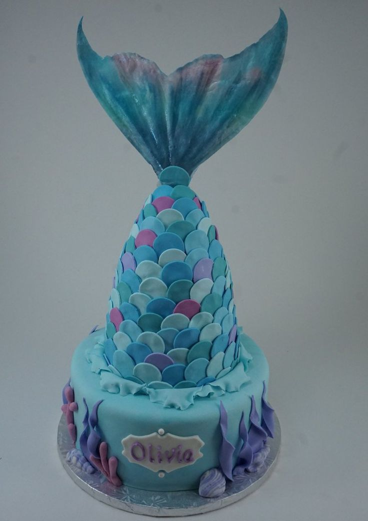 Mermaid tail cake -- with edible paper topper printed from mermaid tail art by Linzee777.