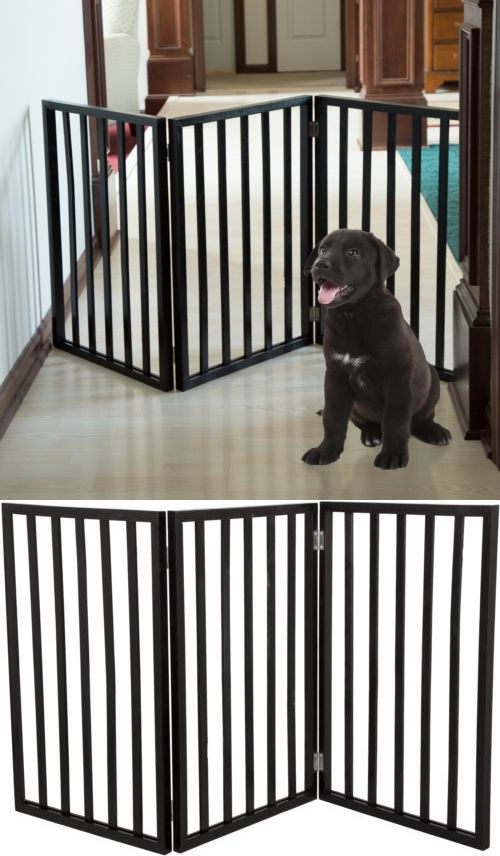 Fences And Exercise Pens 20748: Wood Folding Pet Gate Dog Fence Free  Standing Indoor Safety