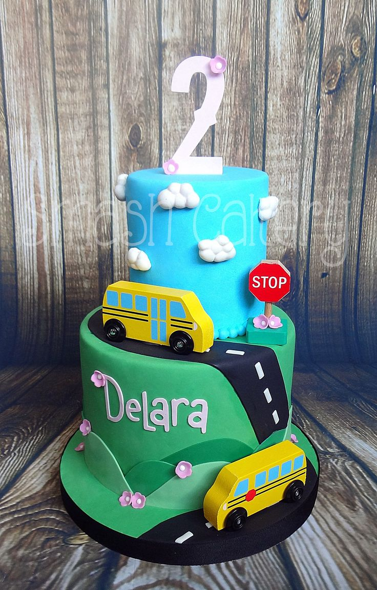 Wheels on the Bus cake, Schoolbus cake, Yellow school bus themed cake.