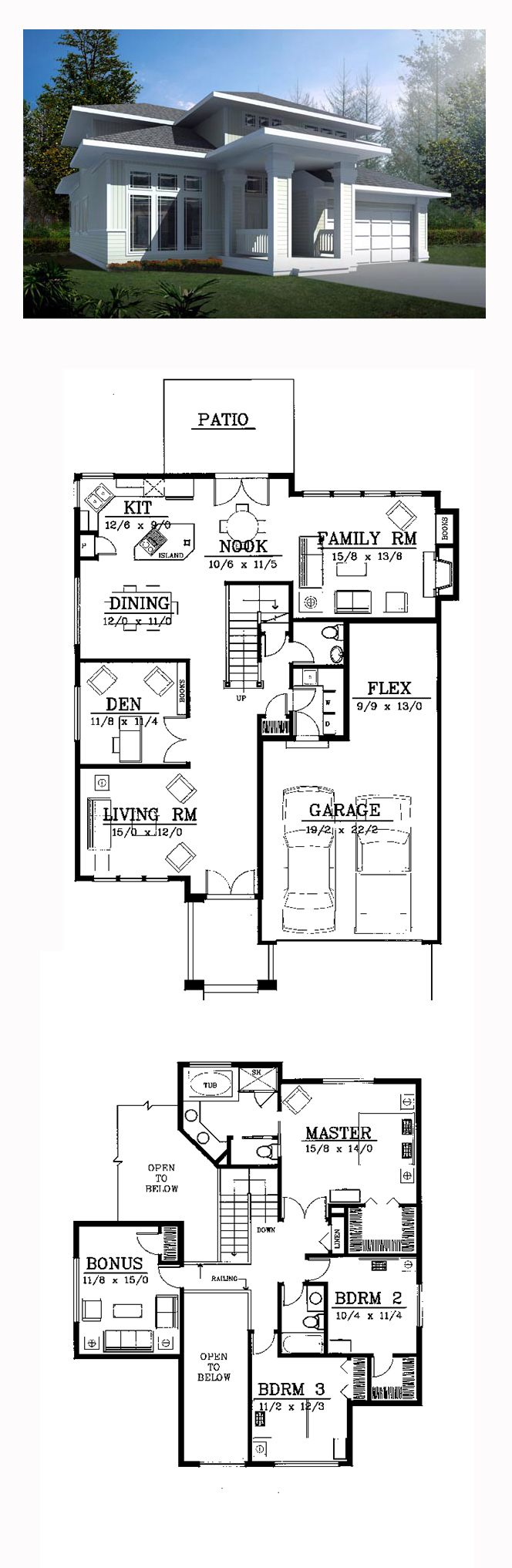 Prairie House Plan 91819 | Total Living Area: 2503 sq. ft., 3 bedrooms and 2.5 bathrooms. #prairiehome