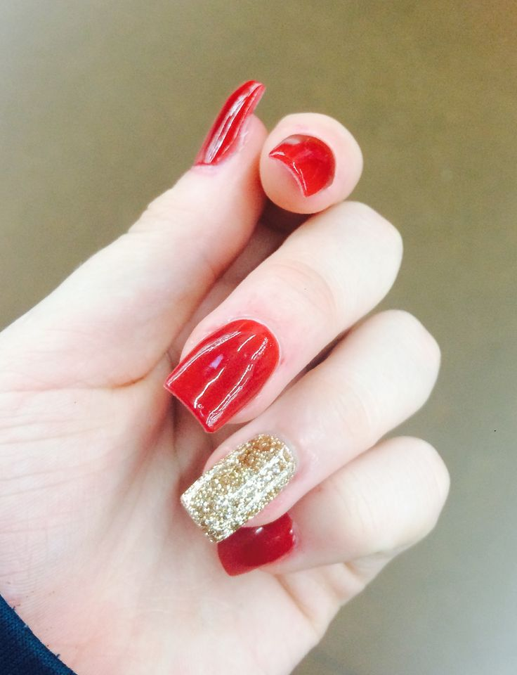 Red and gold nails for prom