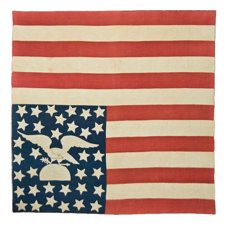 An American Folk Art Masterpiece: Civil War Period American Flag