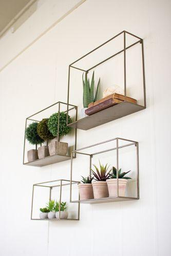 "Metal Shelves Set/4 Distinctive home & garden decorative accessories and accents. Dimensions:x-large 18"""" x 5"""" x 14""""tlarge 16"""" x 5"""" x 12""""tmedium 13.5"""" x 5"""" x 10""""tsmall 12"""" x 5"""" x 8""""t Usuall"