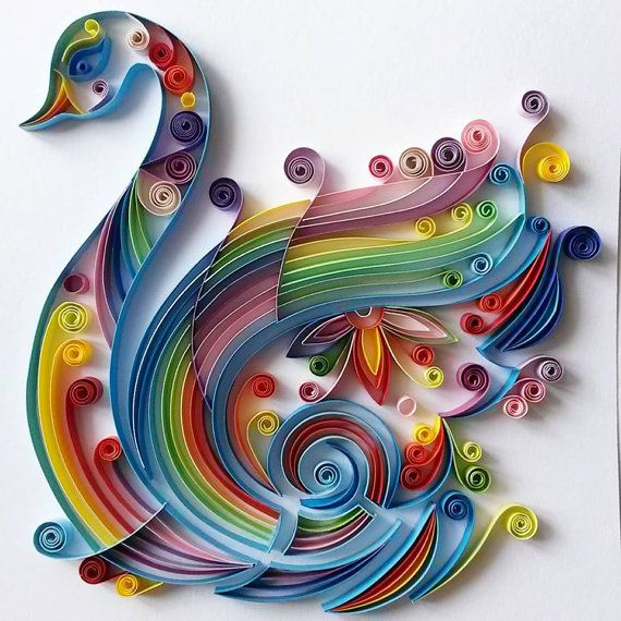 This quilled art is handmade from colourful strips of paper. The swan is made with 7mm paper strips.  - Dimensionsof the picture: 170x180mm  The
