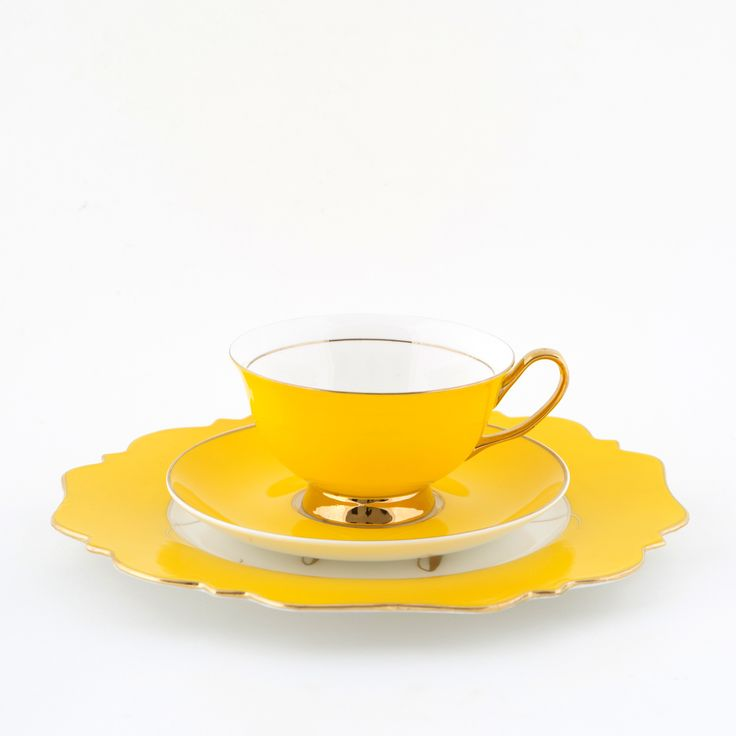 #Yellow #250mL #Teacup and #Saucer #Set with Yellow #Pineapple #Sideplate | The #elegant, #stylish teacup. #Mix'n'match with our other #colours! Get inspired at #lyndalt.com