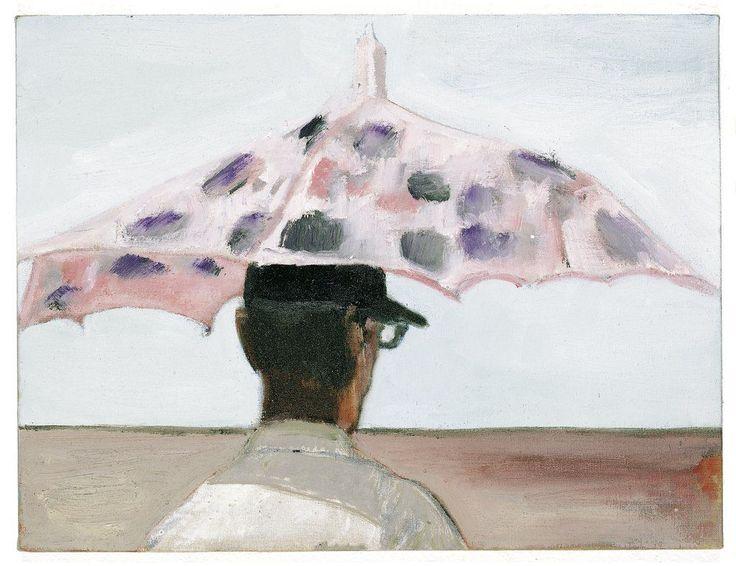 "Peter Doig, LAPEYROUSE UMBRELLA, 2004, oil on canvas, 31 x 41 cm / 12 x 16""."