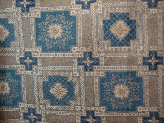 For tablecloth:  54 Wide Vintage Dark Teal Green Fabric Greige Fabric by AnnasDream, $8.95