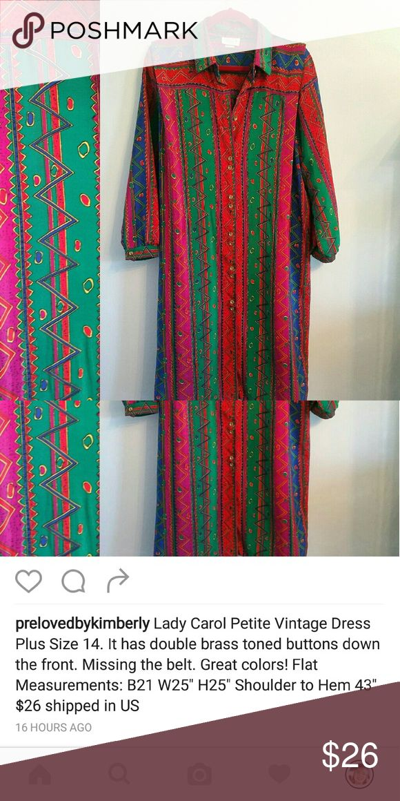 Vintage Aztec Pattern Dress Sz 14 Beautiful colors of green, red, pink and royal blue. Missing belt. See pic above for measurements. Excellent shape. Buttons are tarnished-looking but I believe are designed that way. Dresses Midi