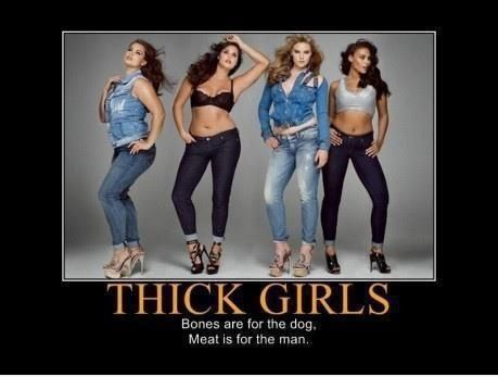 Thick girls - bones are for the dog; meat is for the man.  Another insult to skinny girls.If I'm not calling you fat, don't insult me either!