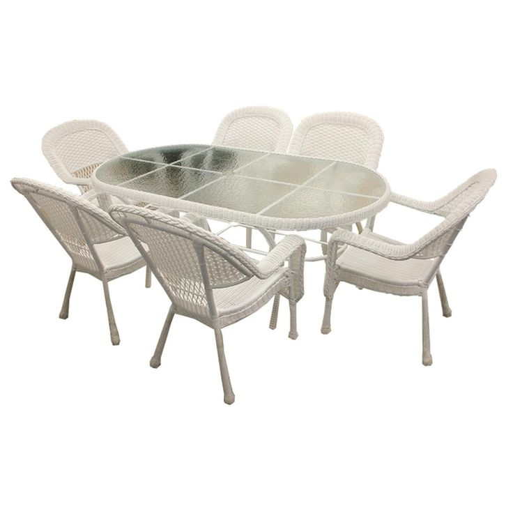 7 Piece White Resin Wicker Patio Dining Set   6 Chairs And 1 Dining Table Part 77