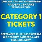 #Ticket  NRL FINALS CANBERRA RAIDERS v CRONULLA SHARKS CATEGORY 1 TICKETS SAT SEP 10 #Australia