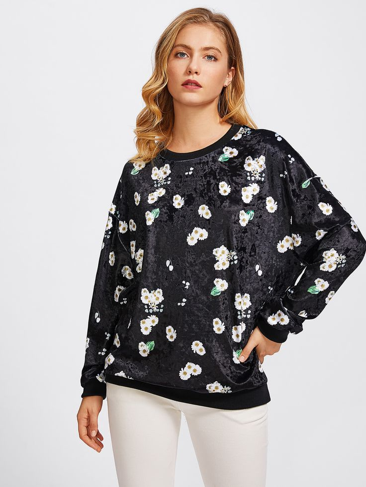 Shop Allover Daisy Print Velvet Sweatshirt online. SheIn offers Allover Daisy Print Velvet Sweatshirt & more to fit your fashionable needs.