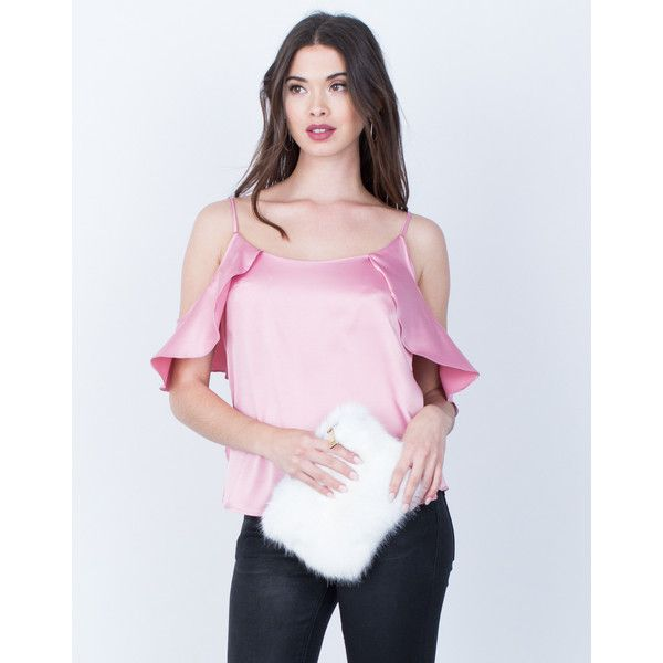 Satin Cold Shoulder Cami (5140 RSD) ❤ liked on Polyvore featuring intimates, strappy cami top, pink camisole, pink cami, cami top and pink cami top