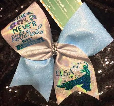 Bows by April - The Cold Never Bothered Me Anyway Glitter and SIlver Prism ELSA Frozen Cheer Bow, $25.00 (http://www.bowsbyapril.com/the-cold-never-bothered-me-anyway-glitter-and-silver-prism-elsa-frozen-cheer-bow/)