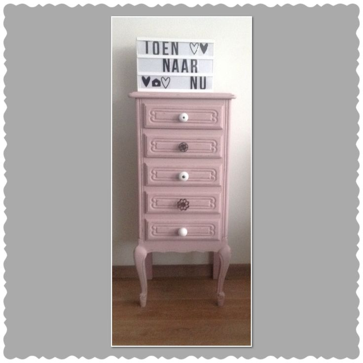 Lief brocant Louis xv kastje Gerestyled in oud-roze