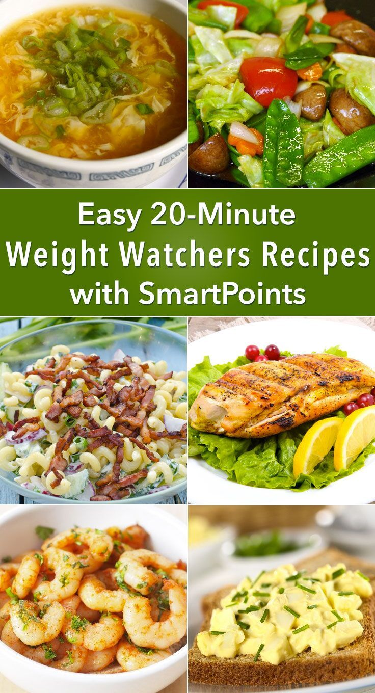 1. Egg Drop Soup with Chicken (Weight Watchers)kitchme.comReady in 10 minutes with 3 SmartPoints. See recipe details. 2. Tuna Salad (Weight Watchers)kitchme.