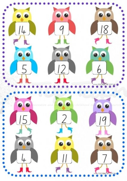 cute owl 1-20 number bingo