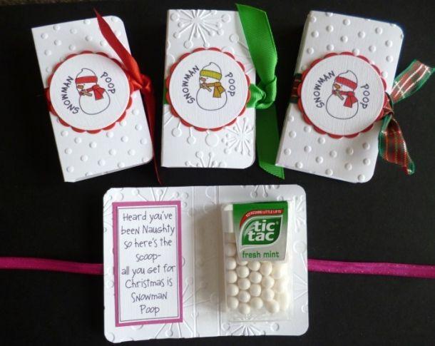 Tic Tac Snowman Poop Printable   Fun Snowman Poop Tic Tac Gift Card - Handmade Stocking Filler!