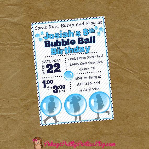 Bubble Ball Bubble Soccer Birthday Party Invitation Invite