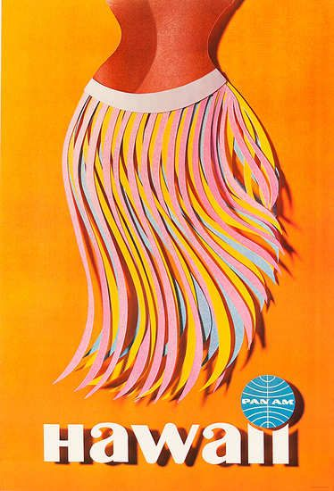 Original Pan Am Travel Poster Hawaiin Hula Skirt