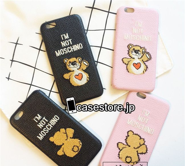 スマホケース iphone6s刺繍ハートくま熊クマMOSCHINO立体革製カップル向けペアケースアイフォン6plus保護カバー7plusブランド