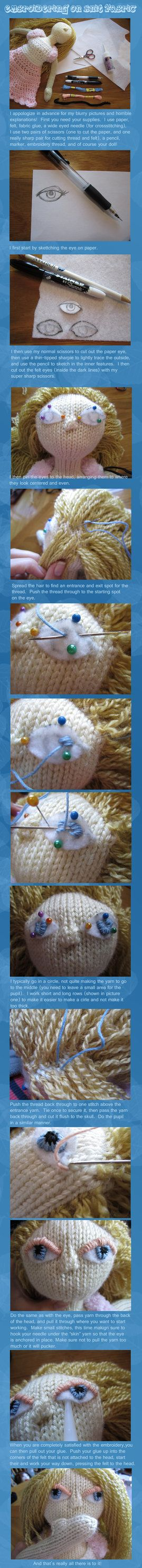 How To Embroider On Knit Fabric Knitted Eyes!