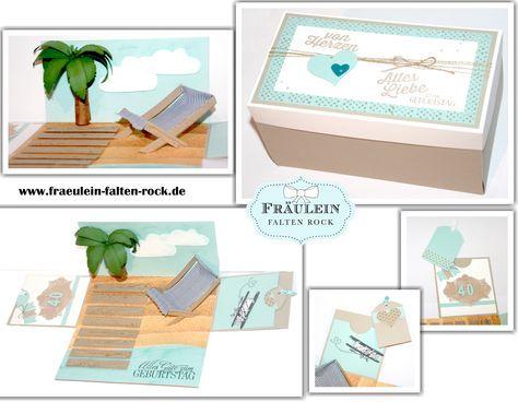 Heute möchte ich euch mal etwas anderes zeigen.  Ich hab diese Box für einen Bekannten zum 40. Geburtstag gewerkelt.  Es gab einen Urlaub in die Sonne. So war auch die Vorgabe, es sollte etwas ausgefallenes, tolles sein, aber nicht zu viel Schnick schnack daran sein.  #geldgeschenk #geburtstag #insel #explosionsbox #stampinup #box #urlaub #sonne #inselfürdich #palme #liegestuhl #fürdich #steg #meer #geschenk #40.geburtstag