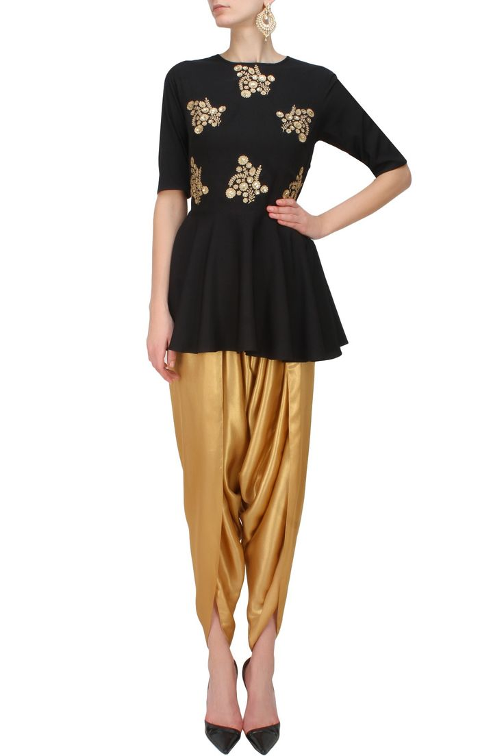 Ridhi Arora presents Black floral embroidered bootis peplum top and shimmer gold dhoti pants set available only at Pernia's Pop Up Shop.