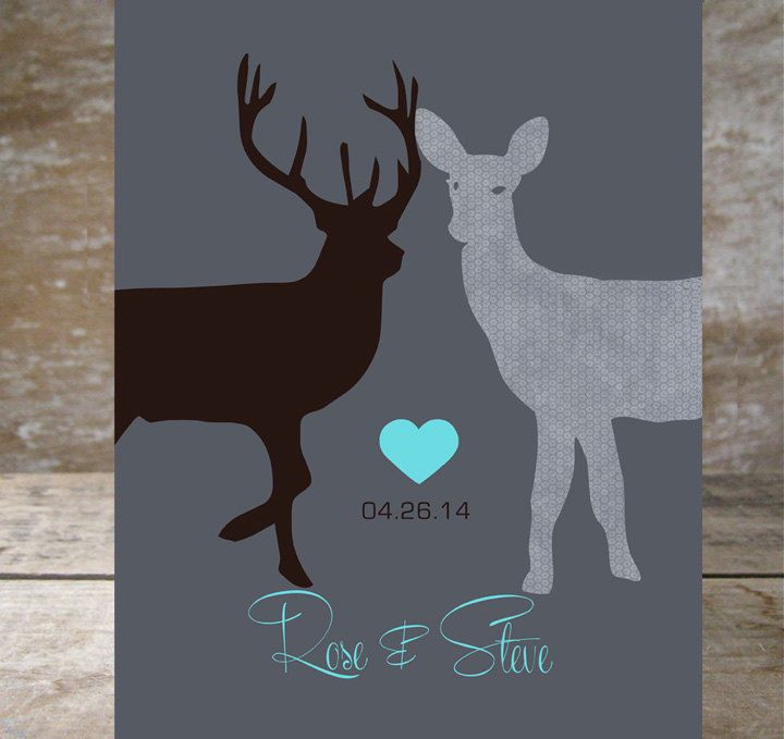 Couples Wedding Gift, Deer Doe Home Decor, Antler Couples Wedding Date Heart Print, Memories, Anniversary Present, Personalized Gift for him by IndigoRain on Etsy https://www.etsy.com/listing/187943304/couples-wedding-gift-deer-doe-home-decor