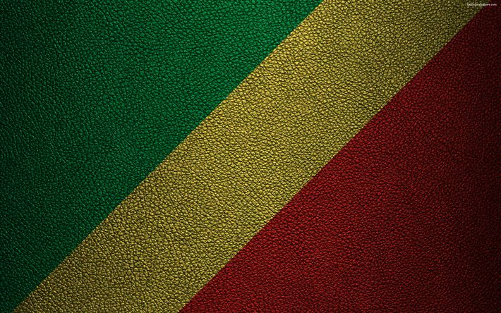 Download wallpapers Flag of the Republic of Congo, Africa, 4k, leather texture, flags of African countries, Republic of the Congo