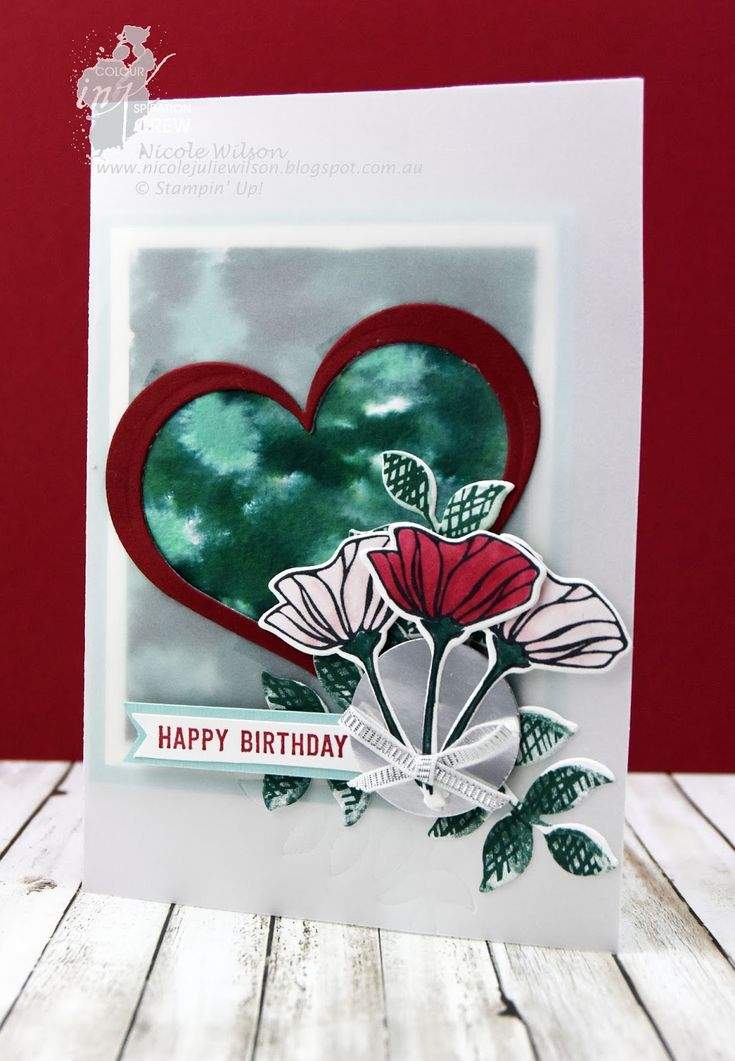 Nicole Wilson Independent Stampin' Up!® Demonstrator - Colour INKspiration 24 using Tranquil Tide, Pool Party, Cherry Cobbler and Blushing Bride #CI24 #stampinup #nicolewilsonstamp #birthday #heart #flowers