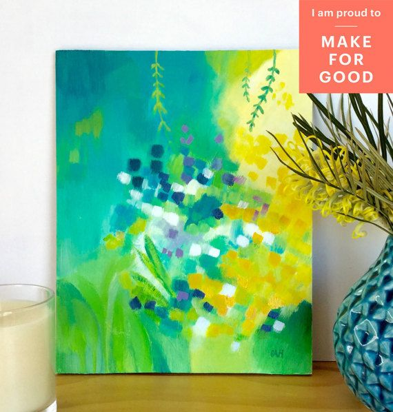beautiful green and gold abstract painting with 20% of sale proceeds donated to Make For Good. Abstract painting makeforgood flower garden by bellablackbird