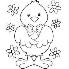 Easter Chick With Flowers Coloring Page Flower Pages For Kids