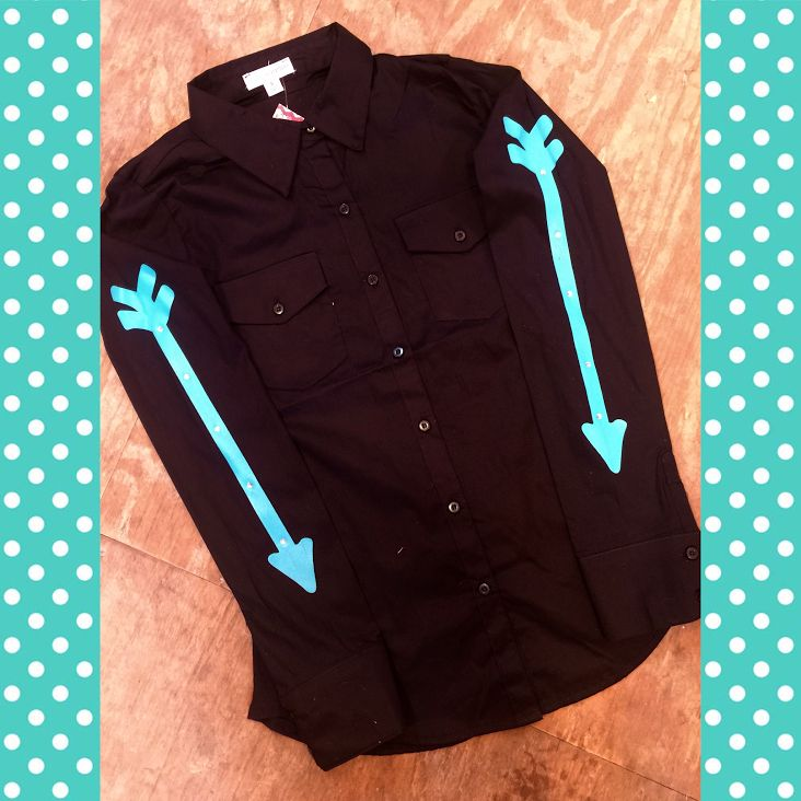 Black fitted shirt with turquoise arrows ranch dress 39 n for Ranch dress n rodeo shirts