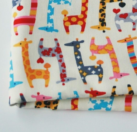Cute Giraffe Fabric Red 1 Yard Sewing Giraffe Fabric
